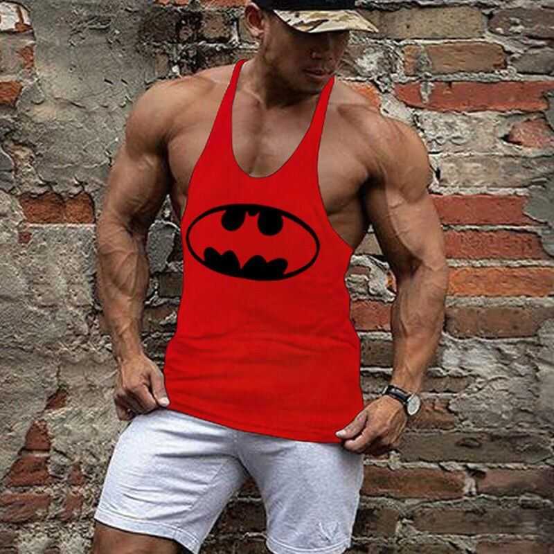Batman print Tank Top Men Bodybuilding and Fitness Vests Sleeveless Shirt Vests Cotton Singlets Muscle Tops 19