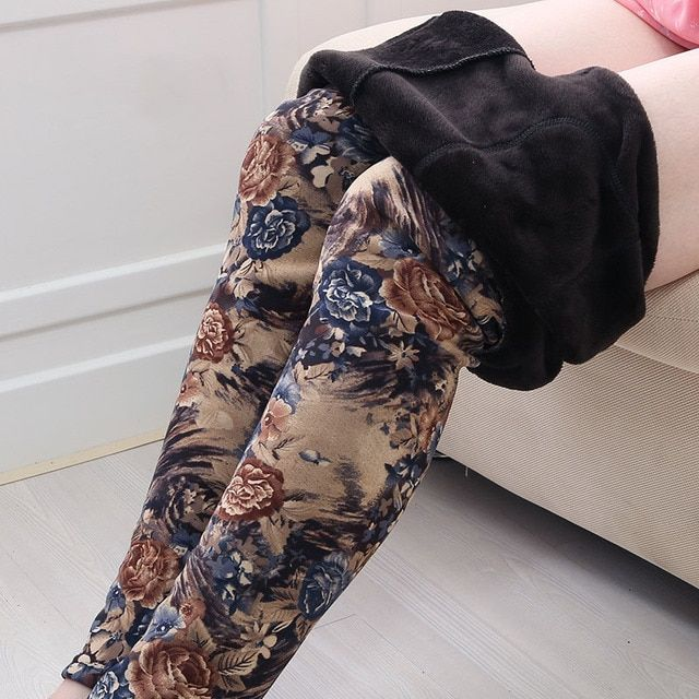 lady winter leggings women tattoo velvet Warm pants fashion floral legging cashmere capris sexy leopard crocodile black pant