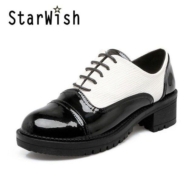 New 2017 Brogue Shoes Casual Women 4CM Heel Platform Creepers Shoes Woman Black White Mixed Colors Patent Oxford Shoes For Women