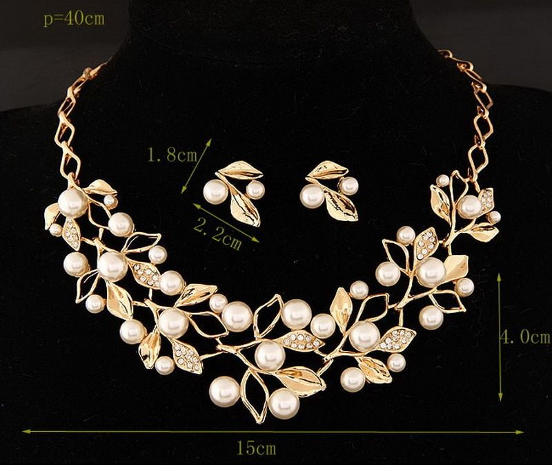 Fashion Jewelry Set Necklace Statement Stud Earrings Women imitation pearl Jewelry Set For Women Gold Silver Plated Jewelry