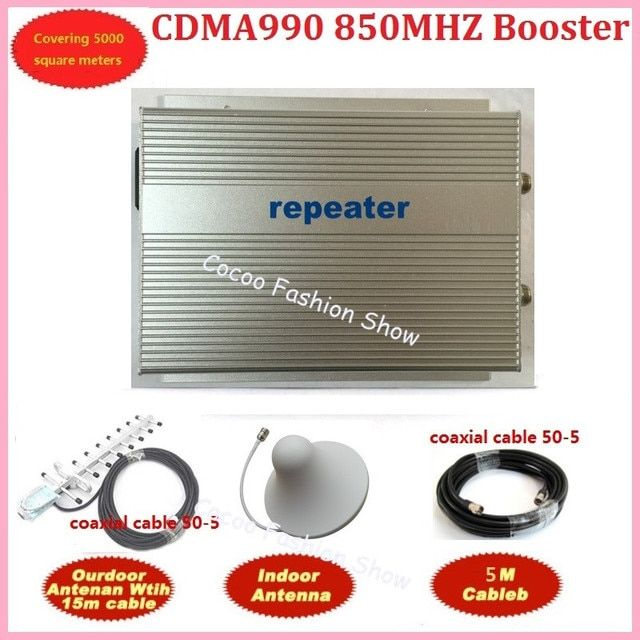 1Set SUNHANS 3W-CDMA990 Mobile Signal Booster 850MHz 3W (40dBm) Coverage 5000 sq.m.CDMA Repeater with 20m Cable50-5 and Antenna