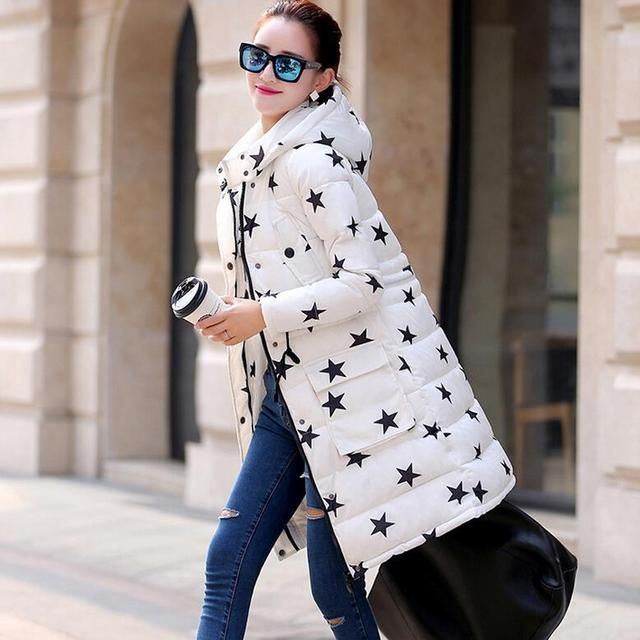 spring padded winter Korean new Girls long Slim waist hooded jacket coat thicker Star Printing women fashion outwear warm coat