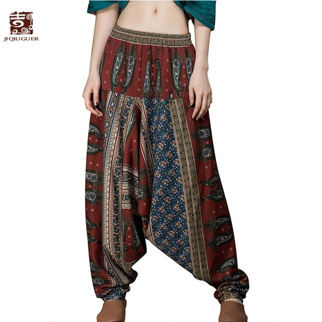 Jiqiuguer Original Design Elastic Waist Harem Trousers Women Printing Long Indian Cotton Linen Baggy Bloomers Pants G151K001