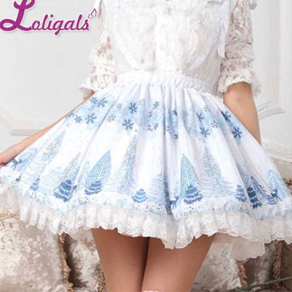 Sweet Light Sky Blue Snow Forest Printed Pleated Lace A Line Lolita Skirt for Lady Free Shipping