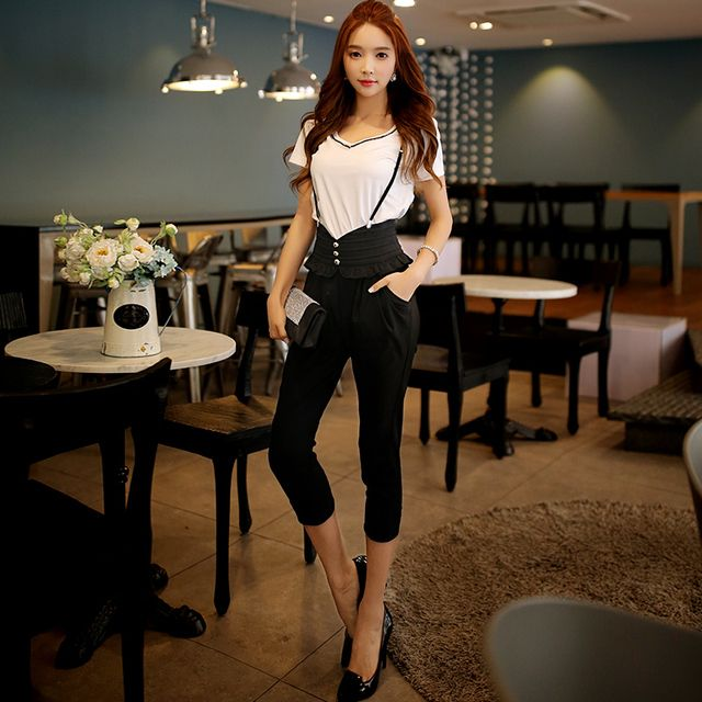 Original 2016 Brand Overalls Handsome Plus Size Elegant Casual High Waist Women Summer Harem Jumpsuits Women Black Wholesale