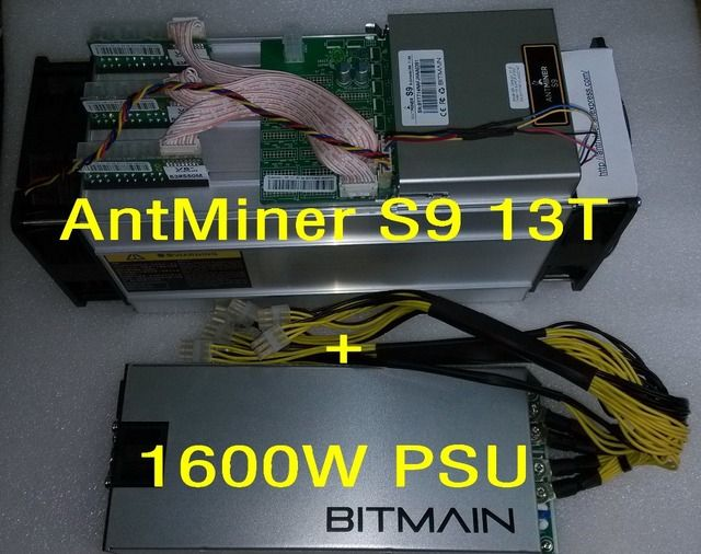 AntMiner S9 13T + 1600W PSU 13Th/s Bitmain 13000Gh/s Asic Miner Bitcon Miner 16nm BTC Mining Power Consumption 1300w SHA256
