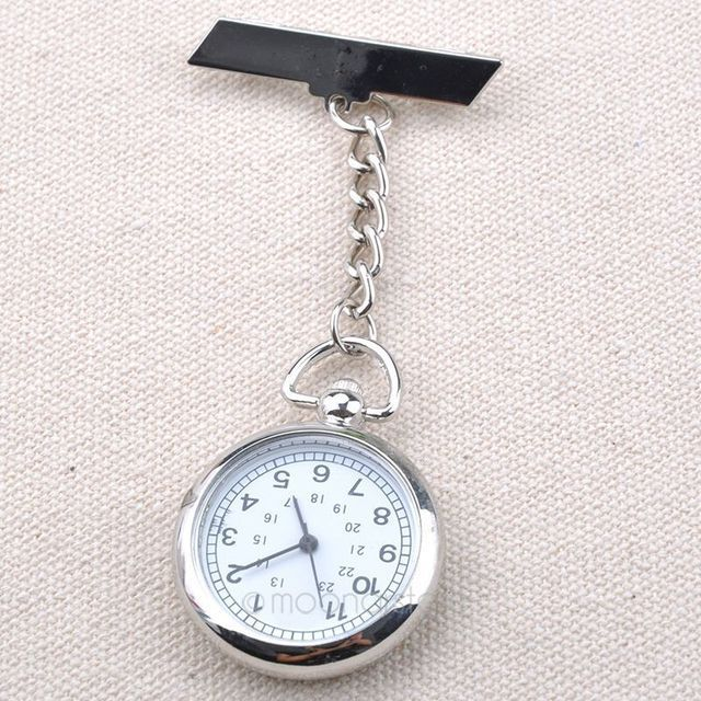 Unisex Watches Fashion Silver Arabic Number White Round Dial Clock Pin Brooch Fibula Quartz Nurse Pocket Watch Clock for Male
