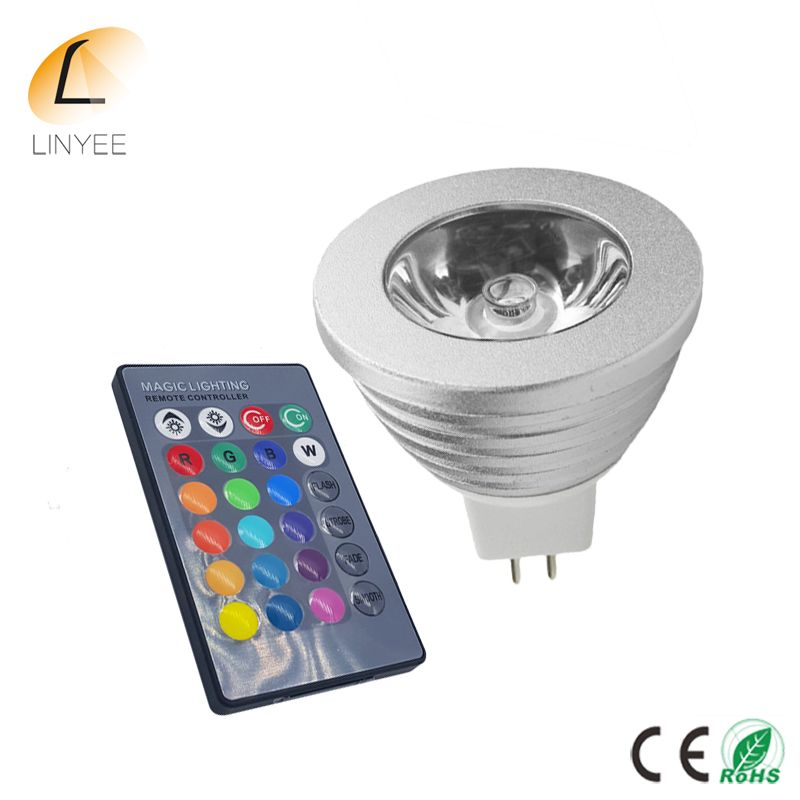 MR16 LED RGB Bulb lamp AC/DC 12V 5W Spot light dimmable magic Holiday RGB lighting+IR Remote Control 16 colors