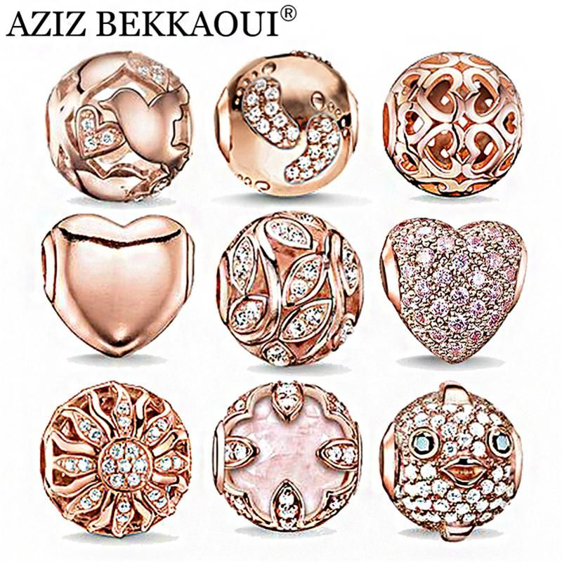 Rose Gold Crystal Beads Fit DIY Bracelet Necklace Heart Charms Fashion Women Jewelry Big Hole DIY Beads For Jewelry Making