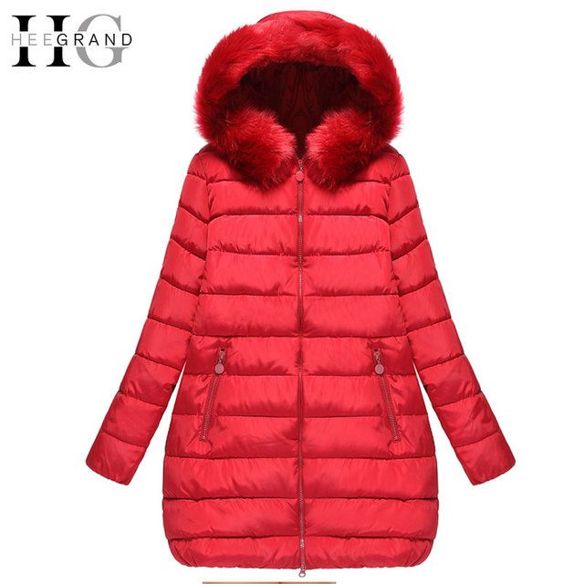 HEE GRAND 2018 Thick Down Mulheres Casaco De Inverno Long Oversized Warm Cotton Coats Winter Fur Hooded Women Parkas 5XL WWM1436