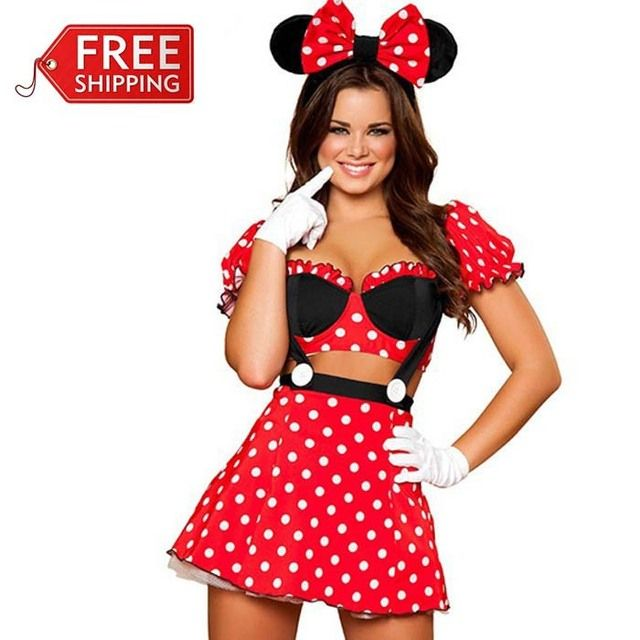 red minnie mouse costumes adults halloween costumes for women party cosplay sexy minnie mouse dress fantasy women  wholesale