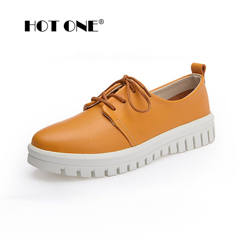 Women Flat Platform Shoes 2017 Brand New Woman Leather Lace Up Platform Shoes for Ladies Casual Creepers White Flats Shoes  1992