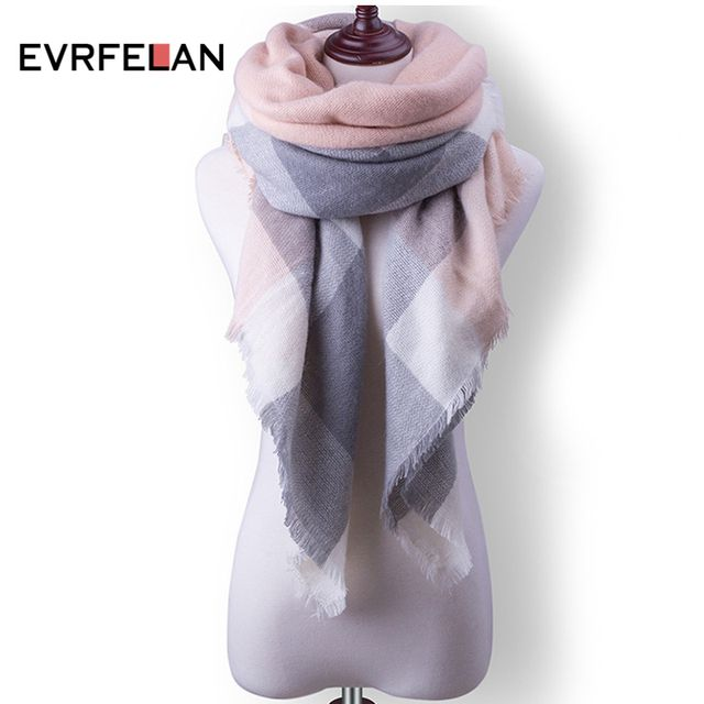 2018 New Plaid Women Scarf Warm Winter Scarf  Women Blanket Shawls Soft Cashmere Scarf Scarves Large Luxury Brand Drop Shipping