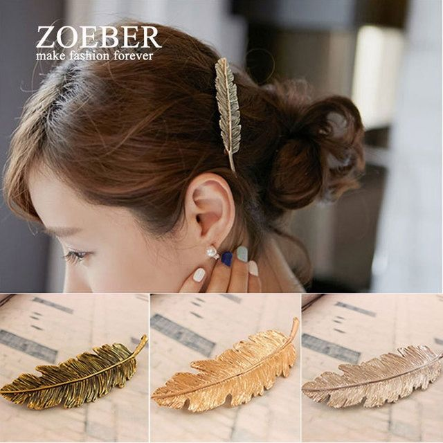 Zoeber WOMEN feather Hair Claws Hairpin color Crystal Pearl Hair Clip Accessories feathers Leaf Shape Barrette Hairpin lady