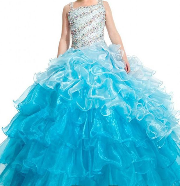 Ice Blue Pageant Dress for Girls Beading Satin Charming Organza Tiered Long Size 12 14 Girls Pageant Dresses Glitz Size 10 Cheap