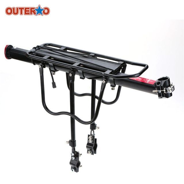 OUTERDO Aluminum Alloy MTB Mountain Road Bike Shelf Light Weight Durable Cycling Racks 2 Baffle Bicycle Rear Rack Accessories