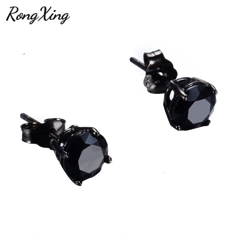 RongXing 925 Sterling Silver Black Stone Stud Earrings for Women Vintage Black Gold Filled Zircon Studs Wedding Earring brinco