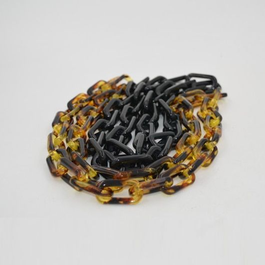 Tortoiseshell Acrylic Resin Black Chain Black DIY Bag Accessories Fashion Plastic  Wholesale Bag Handle Purse Frame Resin Chains