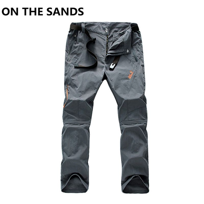 ON THE SANDS New 2017 Men Waterproof Detachable Outdoor Hiking Pants Camping Climbing Trekking Skiing Quick Dry Trousers