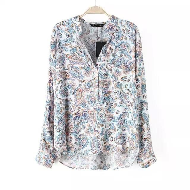 vintage national style cashew printed V neck blouse long sleeve loose casual long shirt Spring women blusas tops#J872