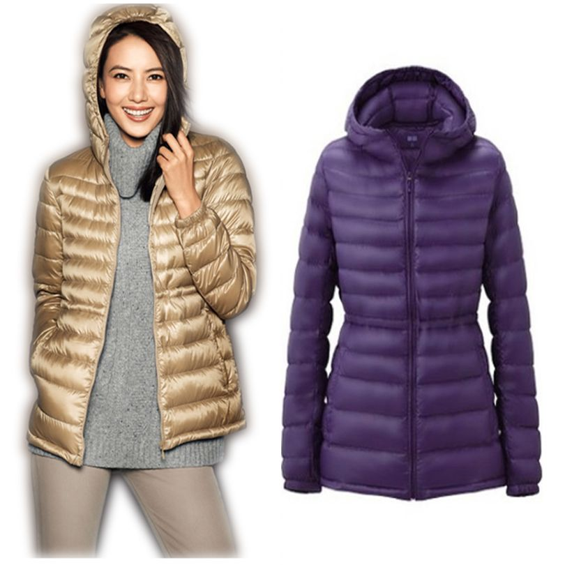 2018 Winter Ultra Light Duck Down Jacket Womens Brand White Duck Down Parka Hooded Plus Size Coats