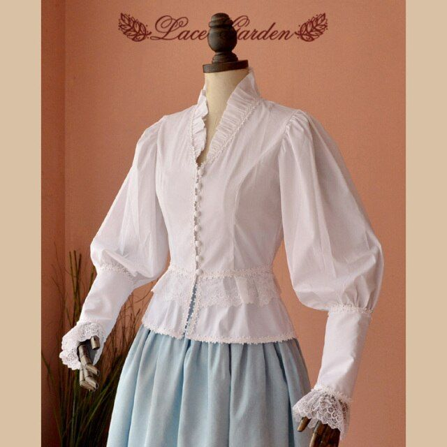 Elegant Retro White Blouse Women's Long Puff Sleeve Victorian Shirt by Lace Garden