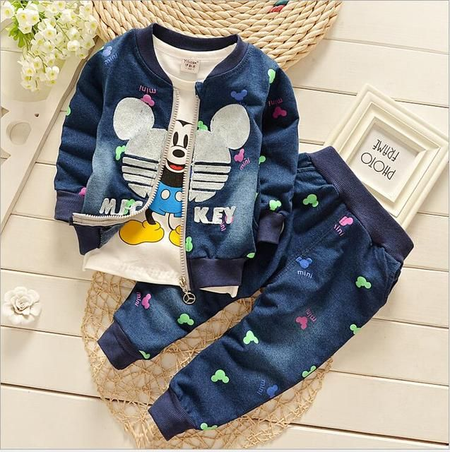 2016 new Winter jacket boy long-sleeved cotton denim sets Mickey 3-piece children's clothing 1-4T  jeans baby cardigan coat suit