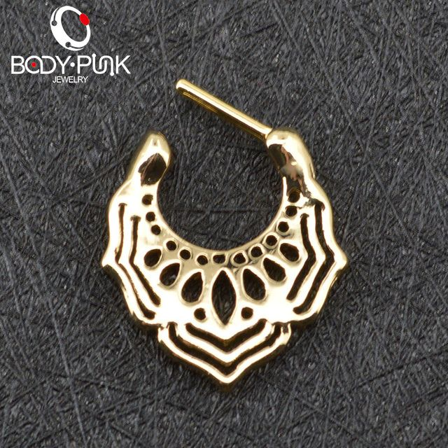 BODY PUNK Gold Nose Ring Piercing Feminino Jewelry Nose Septum Clicker Nose Hoop Piercing Mandala Septum Nose Stud SPT 004