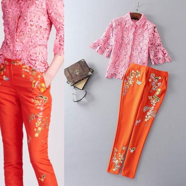 Top Grade New Fashion Women's Set Lace Floral Sexy Shirt+Skinny Leg Flower Embroidery Capri Pant Trousers(1Set)2pcs Pant Suits