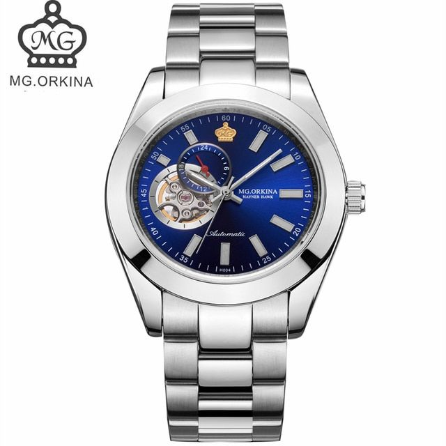 ORKINA Blue Ocean Fashion Casual Designer Stainless Steel Men Skeleton Watch Mens Watches Top Brand Luxury Automatic Watch Clock