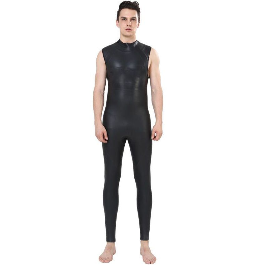 REALON 5mm Neoprene Mens Triathlon Wetsuit Smoothskin Snorkeling Surfing Swimming Sleeveless Scuba Diving Suits Jumpsuit