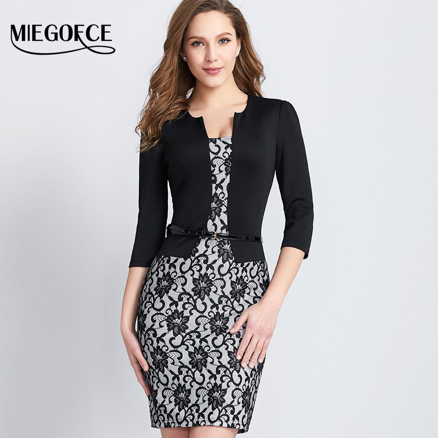 Womens Dress Mature Elegant Fashion Office Dress 3/4 Sleeve V Collar Slim Female Bodycon Dress High Quality MIEGOFCE New Arrival