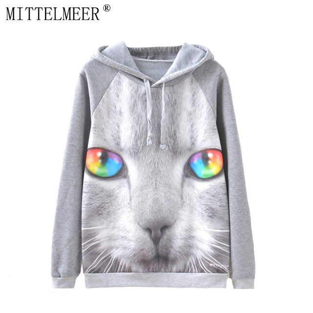 MITTELMEER New Autumn and Spring Harajuku printed Hooded o-neck Cartoon cat printing Hoodies tops for women
