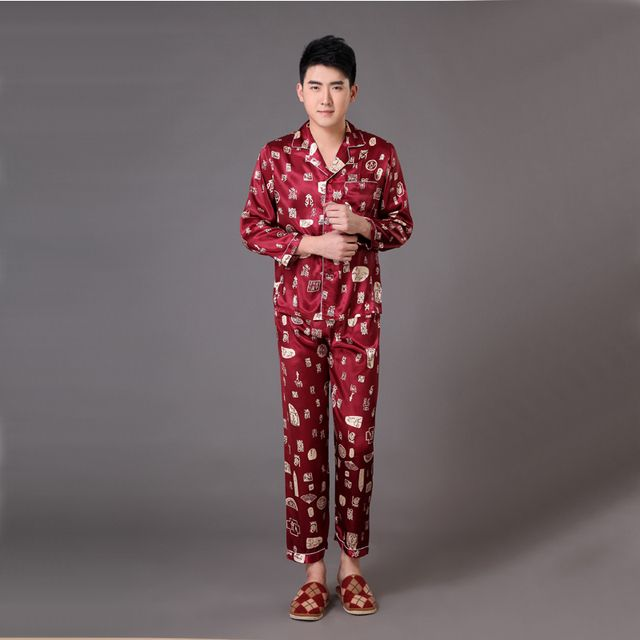 Brand Burgundy Long Sleeve Male Rayon Sleepwear Chinese Men's Long Sleeve Pajamas Set Pyjamas Suit S M L XL XXL XXXL MP009