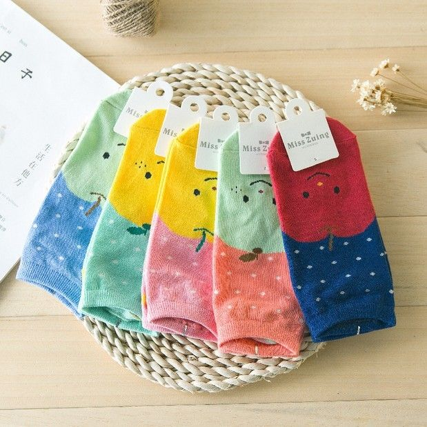 20Pairs/Lot Ice cream candy color cartoon Ms. Duantong help low socks boat socks small fresh fruit watermelon woman