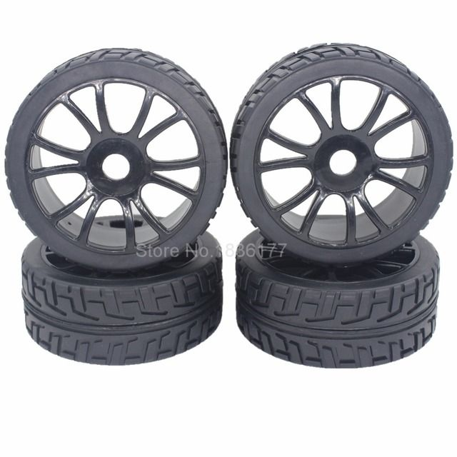 4pcs 1/8 Buggy Tires & Wheel Rims 17mm Hub Fit Off Road RC Car HPI Losi HSP BAZOOKA CAMPER