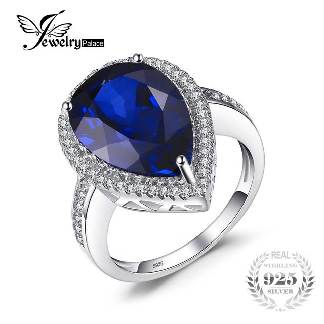 JewelryPalace Luxury Pear Cut 7ct Blue Created Sapphires Solid 925 Sterling Silver Engagement Wedding Ring For Women Lovers