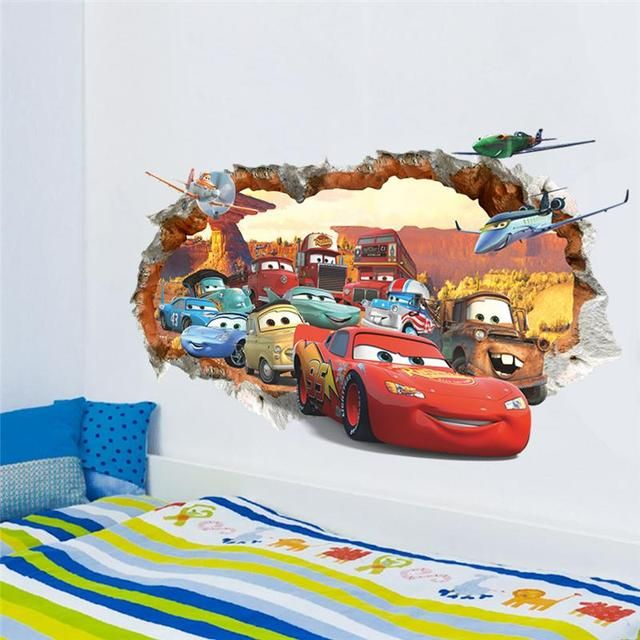 cars through the wall decals decorative stickers gift kids gift bedroom home decor 1484. 3d cartoon mural art movie posters 2.5