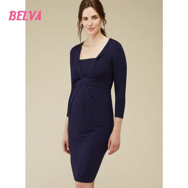 Belva Bamboo Fiber pregnancy clothes maternity dress Business Suits For Work pregnant nursing dress Square Collar DR015