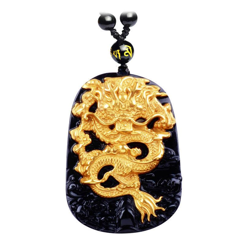 Wholesale  Gold Natural Black Obsidian Carving Dragon Lucky Amulet Pendant Necklace For Women Men pendants Jadee Jewelry
