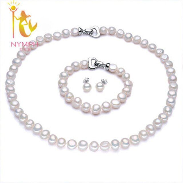 [NYMPH]Pearl Jewelry Sets For Women Real Freshwater Pearl Necklace Bracelet Choker Necklace Fine Jewelry Beads[NYXL007]