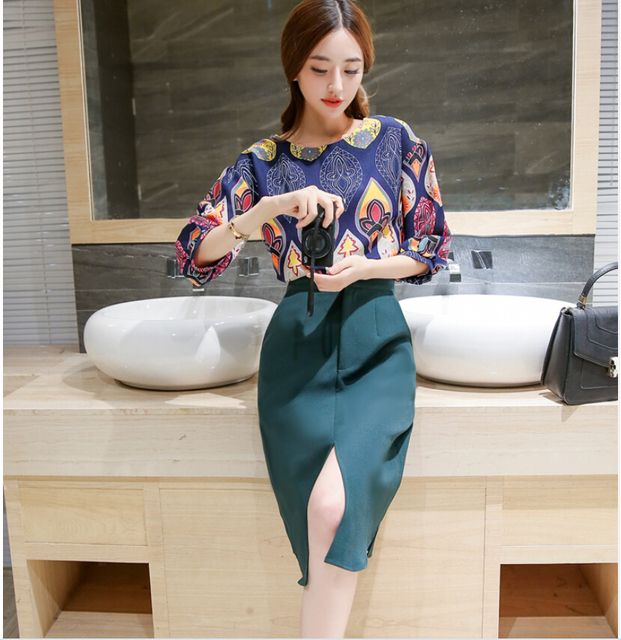 Latest Autumn Fashion Women Suits Elegant Round collar Printed Open fork Skirt Suits Leisure Big yards Slim Women Suits G2324