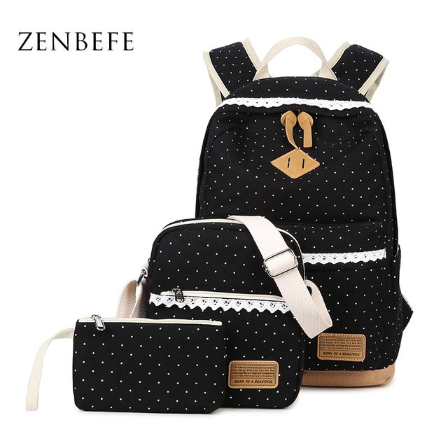 ZENBEFE Design 3 Pcs/Set Women'S Backpack Fashion School Bag For Teenagers Multifunction Women Bag Classic Backpack For Travel
