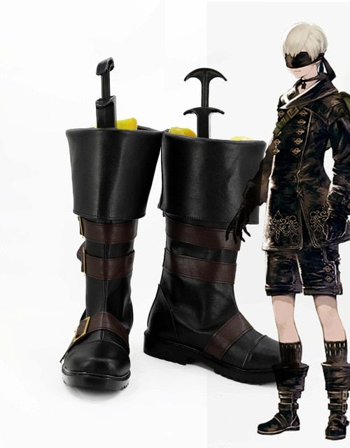 New Game NieR:Automata Cosplay YoRHa No. 9 Type S Shoes Black Shoes Boots For Adult Costume Custom Made size 34-45