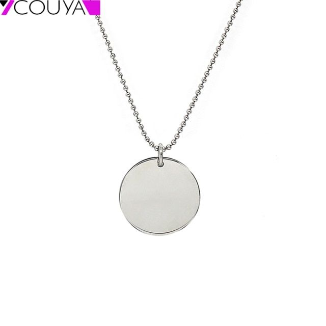 Hot Sell Stainless Steel Round Punk Pendants Necklaces Metal Plain Blank Dog Tag Floating Locket Charms Pendant Colar Logo Laser