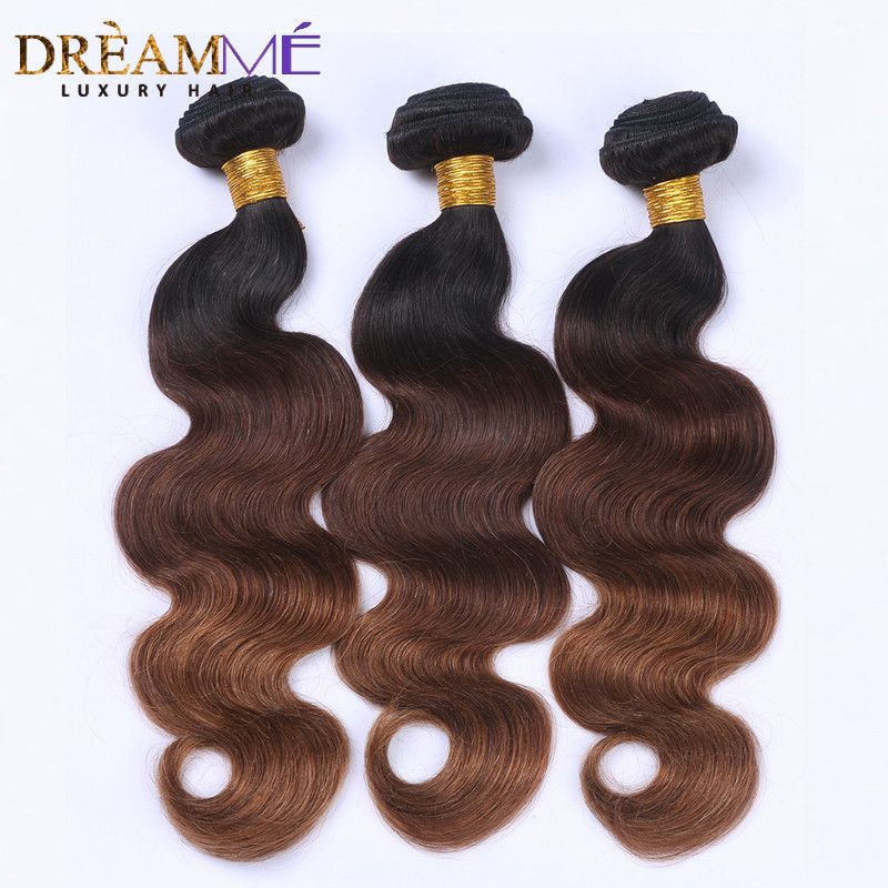 #1B /4 /30 Color Body Wave 3 Bundles Ombre Brazilian Human Hair Weave Ombre Hair Extensions  Remy Hair Dreaming Queen Hair