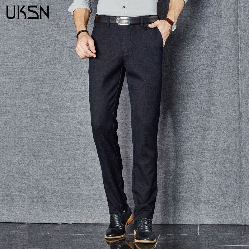 2016 Autumn Mens Slim Casual Pants Male Chino Dress Suit Fashion Plaid Pants Zipper Straight Clothing