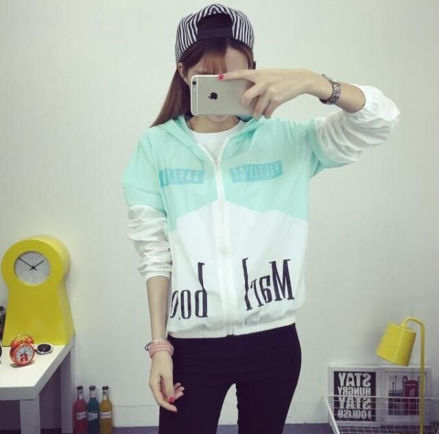 Free shipping 2016 new Korean Women spell color letters printed hooded Thin section jacket women