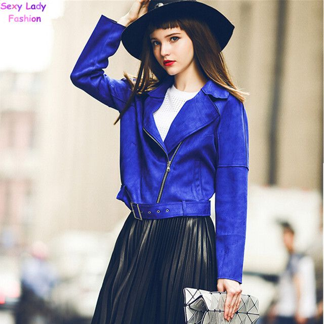 Chic Blue Suede Leather Short Motorcycle Biker Jacket Autumn Women's Lapel Zipper Wide-waisted Loose Coat Outerwear Tops