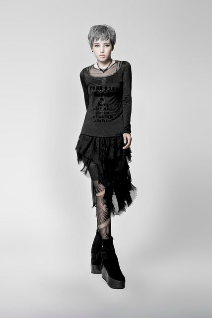 PUNK RAVE Gothic style black cross knitted full sleeve T-shirt PT-019